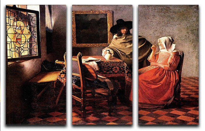Glass of wine by Vermeer 3 Split Panel Canvas Print