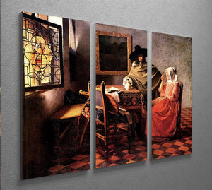 Glass of wine by Vermeer 3 Split Panel Canvas Print - Canvas Art Rocks - 2