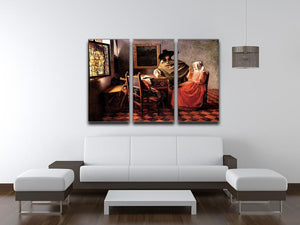 Glass of wine by Vermeer 3 Split Panel Canvas Print - Canvas Art Rocks - 3