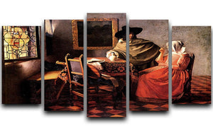 Glass of wine by Vermeer 5 Split Panel Canvas - Canvas Art Rocks - 1