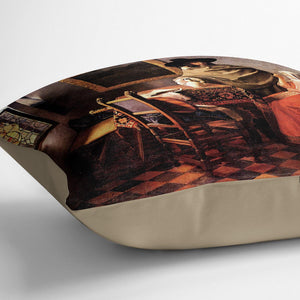 Glass of wine by Vermeer Cushion