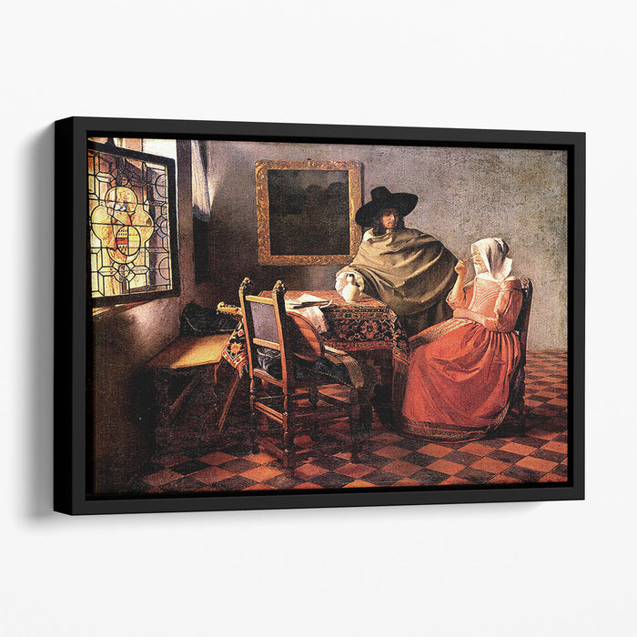 Glass of wine by Vermeer Floating Framed Canvas