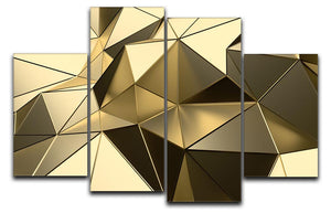 Gold Geometric Surface 4 Split Panel Canvas - Canvas Art Rocks - 1
