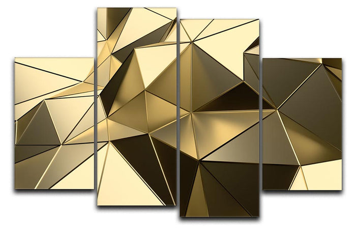Gold Geometric Surface 4 Split Panel Canvas