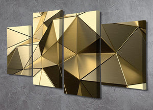 Gold Geometric Surface 4 Split Panel Canvas - Canvas Art Rocks - 2