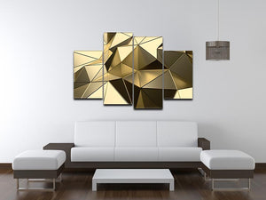 Gold Geometric Surface 4 Split Panel Canvas - Canvas Art Rocks - 3