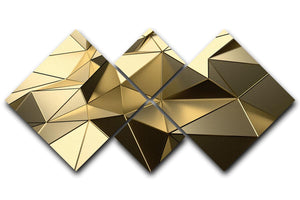 Gold Geometric Surface 4 Square Multi Panel Canvas - Canvas Art Rocks - 1