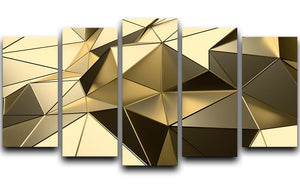 Gold Geometric Surface 5 Split Panel Canvas - Canvas Art Rocks - 1