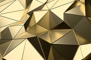 Gold Geometric Surface Wall Mural Wallpaper - Canvas Art Rocks - 1