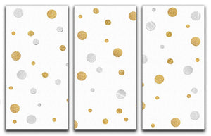 Gold and Silver Glitter Polka Dot 3 Split Panel Canvas Print - Canvas Art Rocks - 1