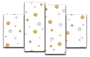 Gold and Silver Glitter Polka Dot 4 Split Panel Canvas - Canvas Art Rocks - 1