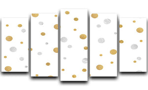 Gold and Silver Glitter Polka Dot 5 Split Panel Canvas - Canvas Art Rocks - 1