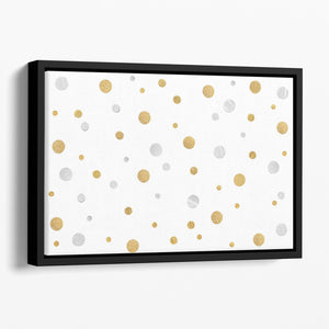 Gold and Silver Glitter Polka Dot Floating Framed Canvas - Canvas Art Rocks - 1