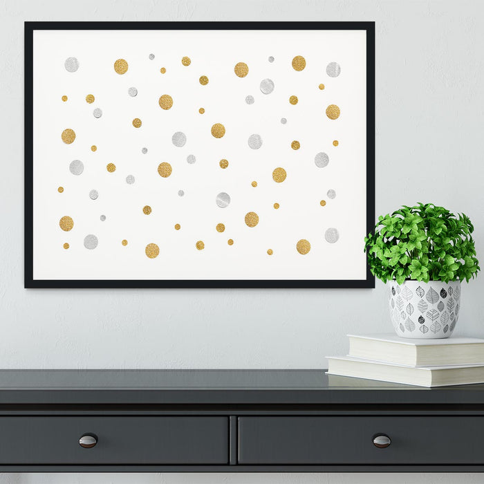 Gold and Silver Glitter Polka Dot Framed Print