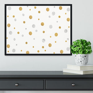 Gold and Silver Glitter Polka Dot Framed Print - Canvas Art Rocks - 2