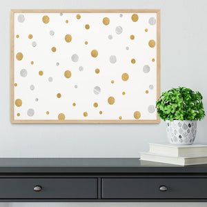 Gold and Silver Glitter Polka Dot Framed Print - Canvas Art Rocks - 4