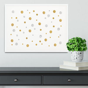Gold and Silver Glitter Polka Dot Framed Print - Canvas Art Rocks - 5