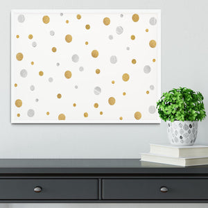 Gold and Silver Glitter Polka Dot Framed Print - Canvas Art Rocks -6