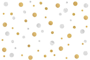 Gold and Silver Glitter Polka Dot Wall Mural Wallpaper - Canvas Art Rocks - 1