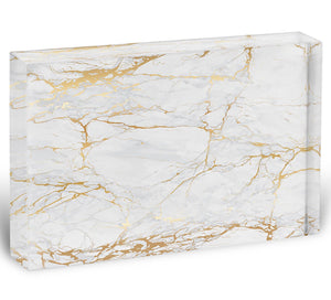 Golden Marble Acrylic Block - Canvas Art Rocks - 1