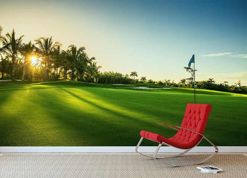 Golf course in the countryside Wall Mural Wallpaper - Canvas Art Rocks - 1