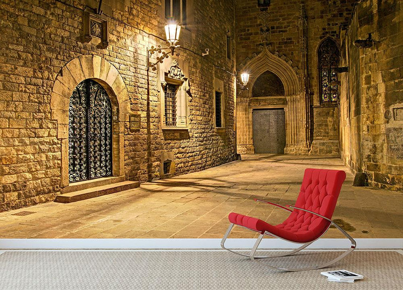 Gothic quarter Wall Mural Wallpaper - Canvas Art Rocks - 1