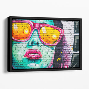 Graffiti Glasses Floating Framed Canvas