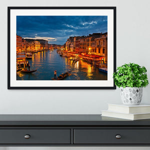 Grand Canal Venice at night Framed Print - Canvas Art Rocks - 1