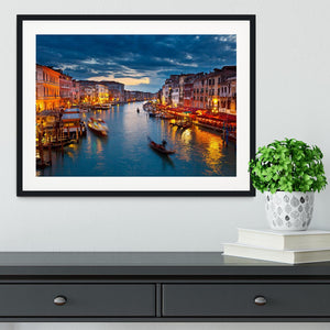 Grand Canal at night Venice Framed Print - Canvas Art Rocks - 1