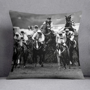 Grand National 1992 Carl Llewellyn on Party Politics Cushion - Canvas Art Rocks - 1