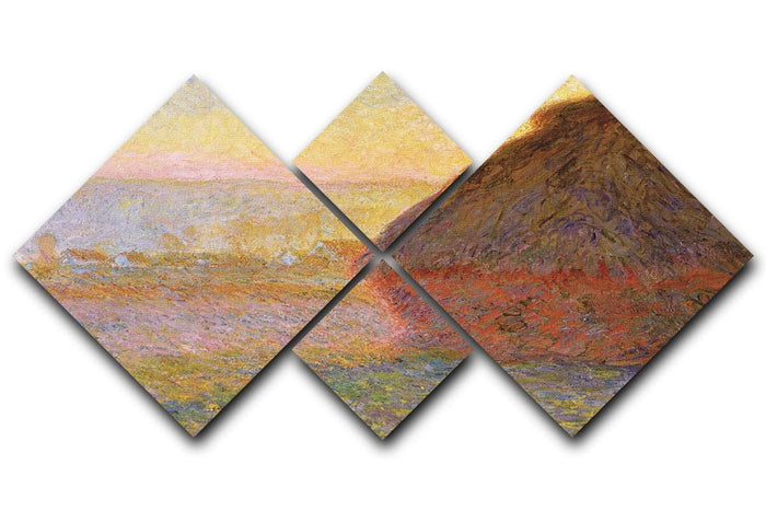 Graystacks by Monet 4 Square Multi Panel Canvas