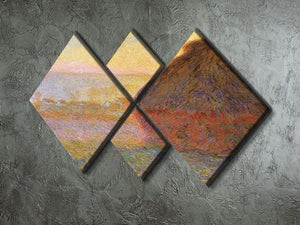 Graystacks by Monet 4 Square Multi Panel Canvas - Canvas Art Rocks - 2