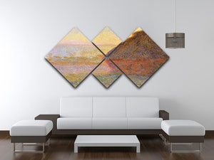 Graystacks by Monet 4 Square Multi Panel Canvas - Canvas Art Rocks - 3
