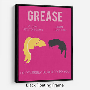 Grease Minimal Movie Floating Frame Canvas - Canvas Art Rocks - 1