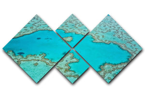 Great Barrier Reef Aerial View 4 Square Multi Panel Canvas  - Canvas Art Rocks - 1