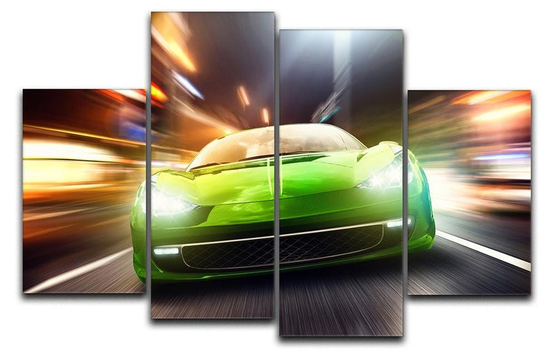 Green Race Car 4 Split Panel Canvas  - Canvas Art Rocks - 1
