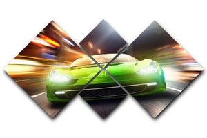Green Race Car 4 Square Multi Panel Canvas  - Canvas Art Rocks - 1