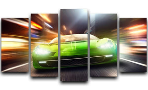 Green Race Car 5 Split Panel Canvas  - Canvas Art Rocks - 1