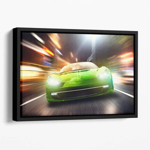 Green Race Car Floating Framed Canvas