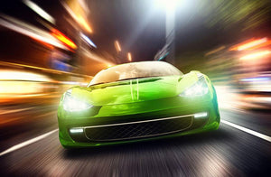 Green Race Car Wall Mural Wallpaper - Canvas Art Rocks - 1
