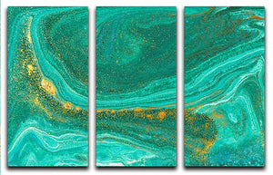 Green Swirled Marble 3 Split Panel Canvas Print - Canvas Art Rocks - 1
