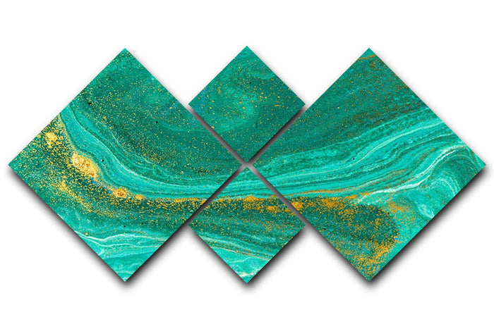 Green Swirled Marble 4 Square Multi Panel Canvas