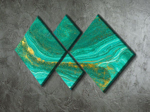 Green Swirled Marble 4 Square Multi Panel Canvas - Canvas Art Rocks - 2