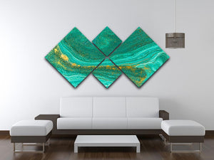 Green Swirled Marble 4 Square Multi Panel Canvas - Canvas Art Rocks - 3