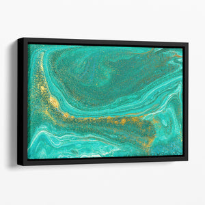 Green Swirled Marble Floating Framed Canvas - Canvas Art Rocks - 1