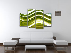Green Wave 4 Split Panel Canvas - Canvas Art Rocks - 3