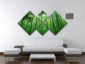 Green bamboo forest 4 Square Multi Panel Canvas  - Canvas Art Rocks - 3