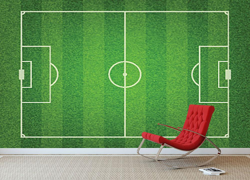 Green grass soccer field Wall Mural Wallpaper - Canvas Art Rocks - 1