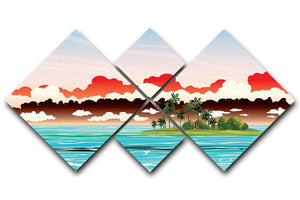 Green island with coconut palms 4 Square Multi Panel Canvas  - Canvas Art Rocks - 1