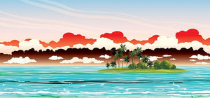 Green island with coconut palms Wall Mural Wallpaper - Canvas Art Rocks - 1